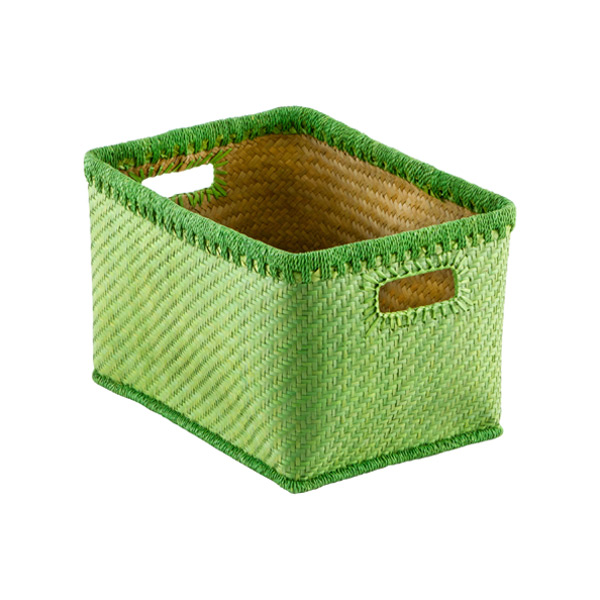 Medium Woven Palm Bins Kiwi