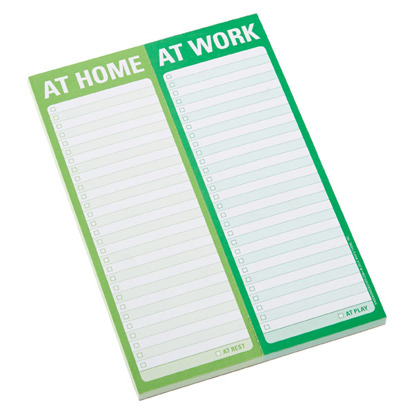 Perforated At Home/At Work Notepad Green