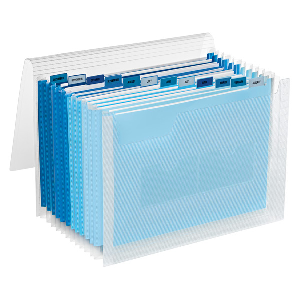 13-Pocket Accordion Letter File Clear/Blue