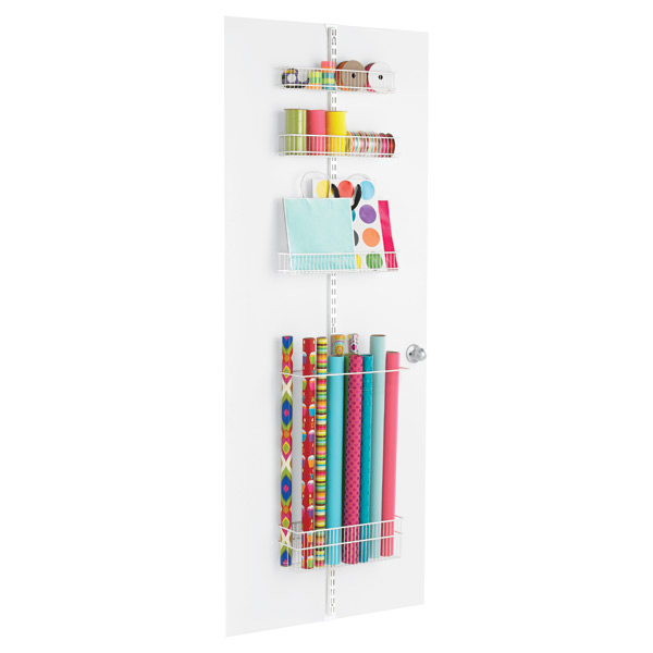 White elfa Gift Wrap Door & Wall Rack Solution