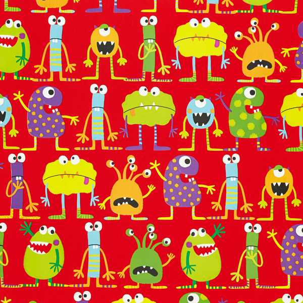 Wrap Bright Monsters on Red