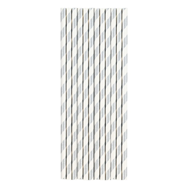 Grey Striped Paper Straws Paper Straws Stripe Silver
