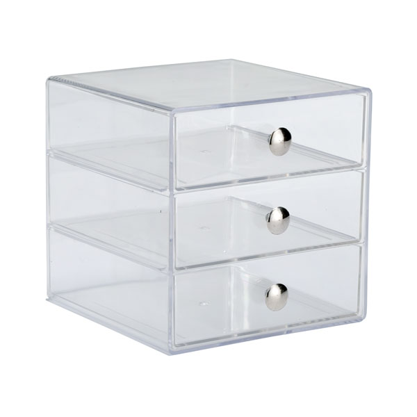 3-Drawer Box Clear/Chrome