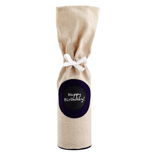 Chalkboard Label Wine Bag Navy