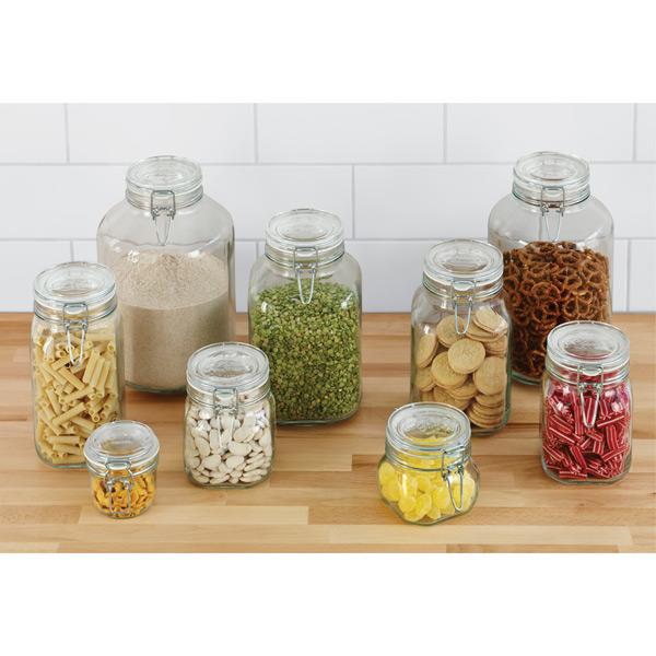 Square Glass Jar with Stainless Steel Lid Biscuit Food Storage Screw Top Jar