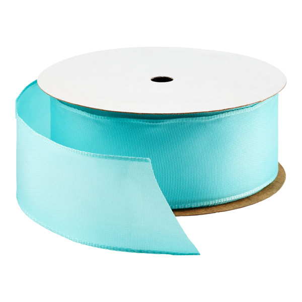 Bright Aqua Wired Ribbon | The Container Store