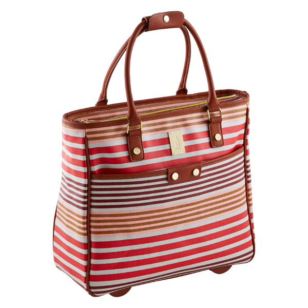 Calypso Stripe Wheeled Tote Natural & Pink