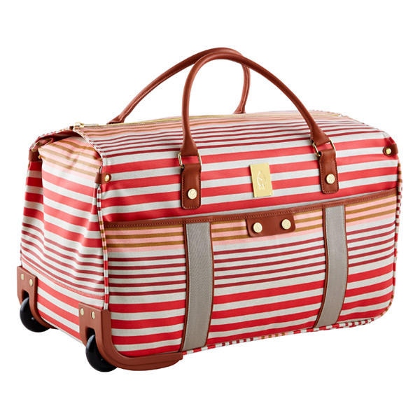 Calypso Stripe Wheeled Duffel Natural & Pink