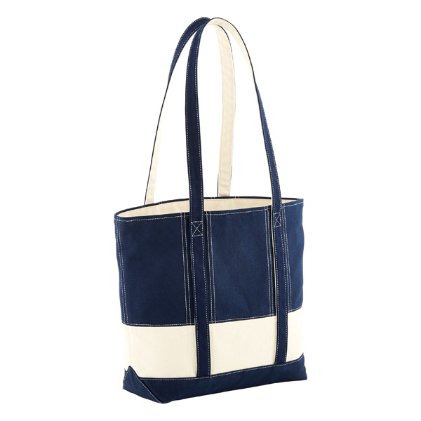 Nautical Canvas Zippered Tote Navy & Natural