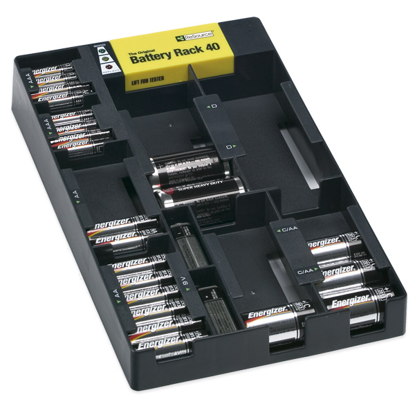 Battery Rack Organizer Black