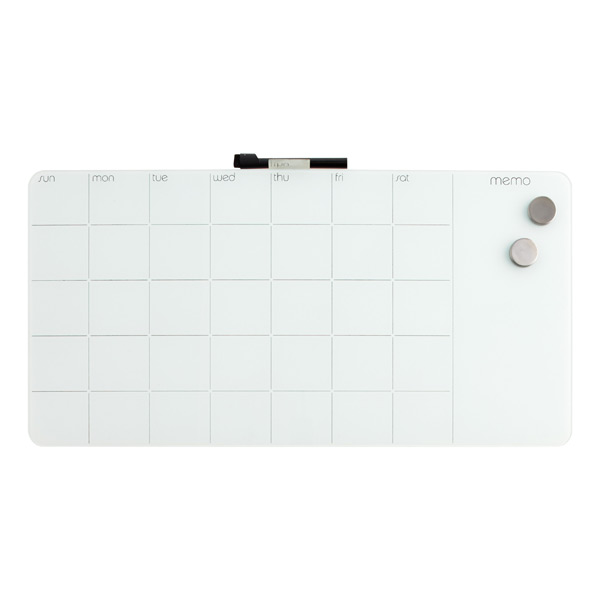 three by three monthly glass magnetic dry erase board
