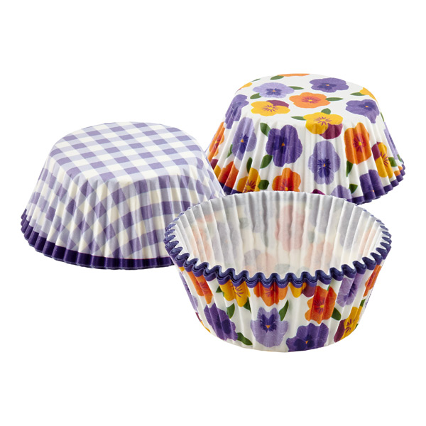 Cupcake Cases Pansies/Gingham Purple Pkg/48