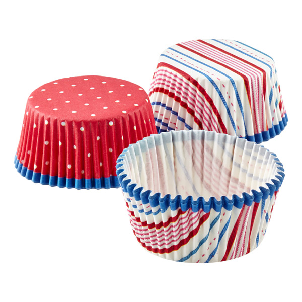 Stripes & Dots Cupcake Cases Blue/Red Pkg/48