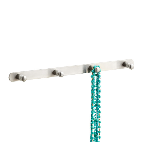 Deco Knob 4-Hook Rack Stainless