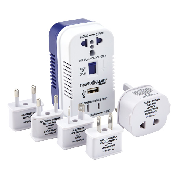 2-Outlet Converter & Adapter Set w/ USB White