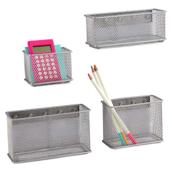 magnetic bins silver magnetic mesh bins the container store rh containerstore com