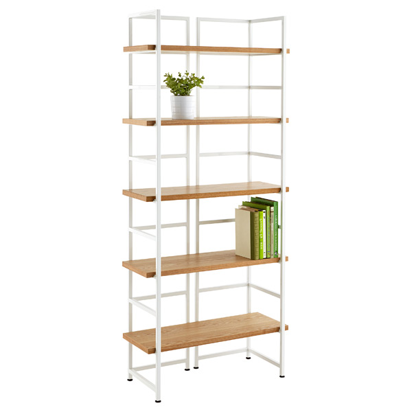 Connections® 5-Shelf Bookcase Ash & White