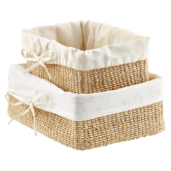 Soft Rush Lidded Rectangular Lined Storage Basket: Lined Baskets For Nursery