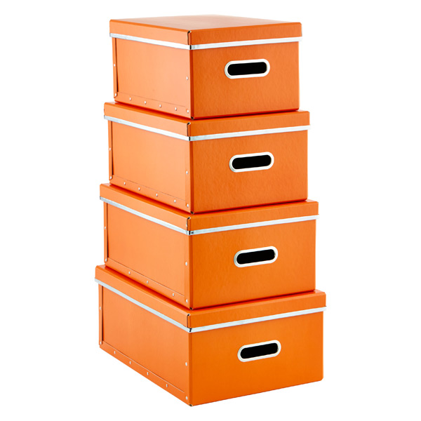 Store Anywhere Boxes Orange Set of 4