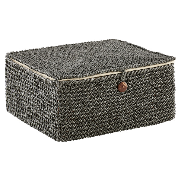 Grey Crochet Storage Box with Hinged Lid  sc 1 st  The Container Store & Grey Crochet Storage Box with Hinged Lid | The Container Store