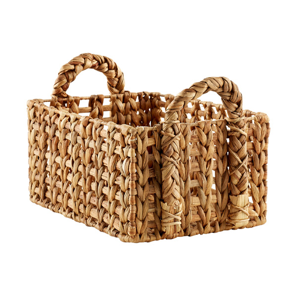 Medium Open-Weave Water Hyacinth Bin Natural