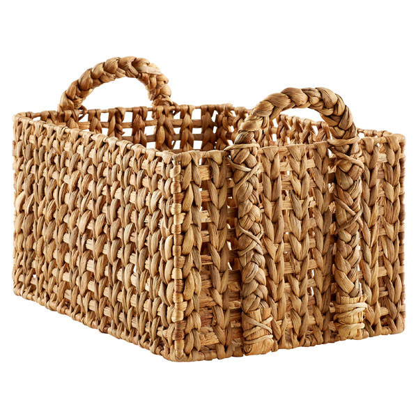 Large Open-Weave Water Hyacinth Bin Natural