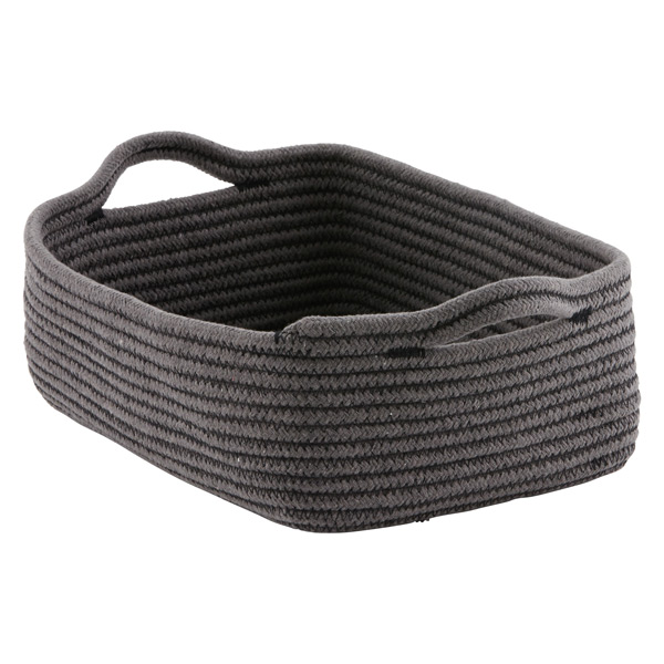 Small Cotton Rope Bin Grey