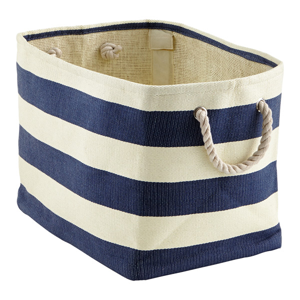 Large Rugby Stripe Bin Navy & Ivory