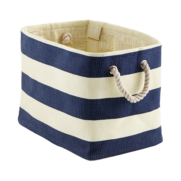 Small Rugby Stripe Bin Navy & Ivory