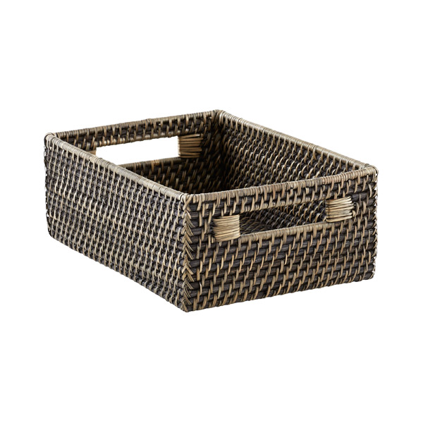 Medium Rattan Bin w/Handles Blackwash