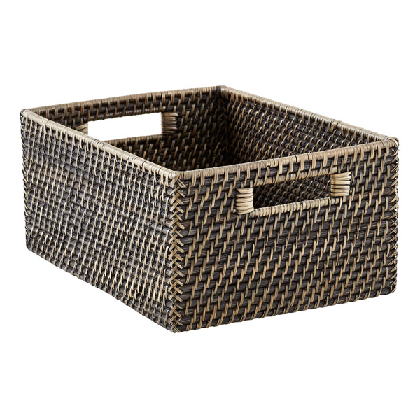 Large Rattan Bin w/Handles Blackwash