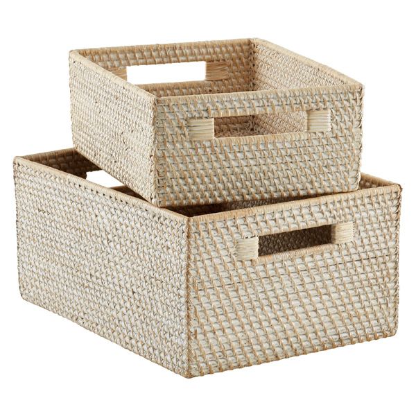 Whitewash Rattan Storage Bins with Handles The Container Store