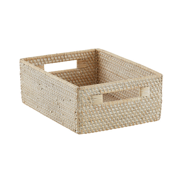 Medium Rattan Bin Whitewash