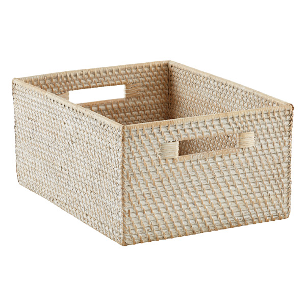 Whitewash Rattan Bins · Large Rattan Bin W/Handles Whitewash ...