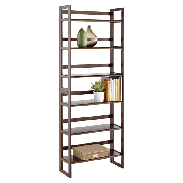 2-Solid Oak Stackable Folding Bookshelves Java