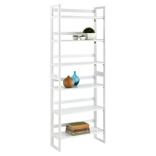 2-Solid Oak Stackable Folding Bookshelves White