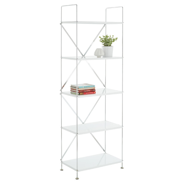 Barcelona 5-Shelf Bookcase White