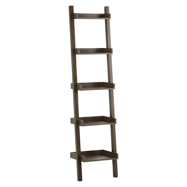 Narrow Linea Leaning Bookcase Driftwood