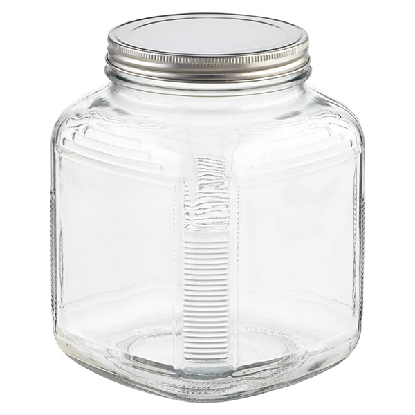 glass jars with lids anchor hocking glass cracker jars with aluminum lids the container store. Black Bedroom Furniture Sets. Home Design Ideas