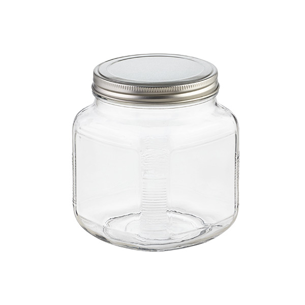 1 qt. Glass Cracker Jar Aluminum Lid