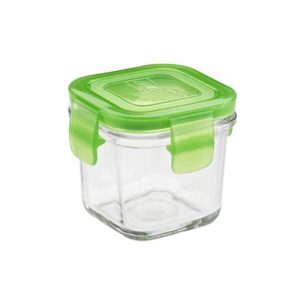 7 oz. Glass Container Square Green Lid