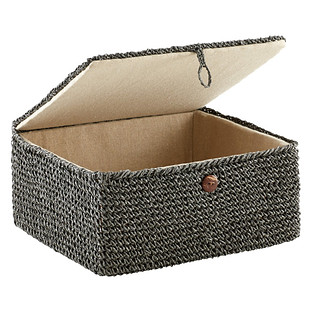 Grey Crochet Storage Box With Hinged Lid