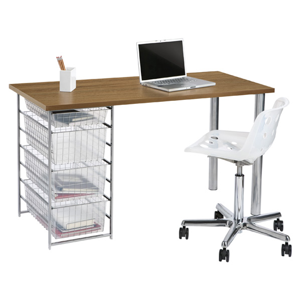 elfa Mesh Component Desk Coffee & Platinum