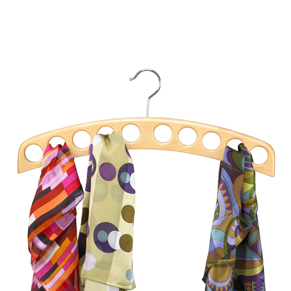 10-Scarf Hardwood Hanger Natural