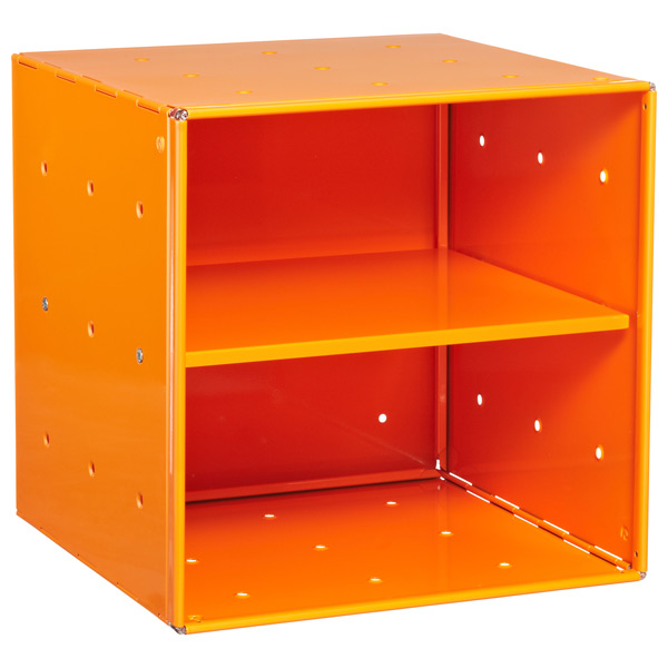 Orange Enameled QBO® Steel Cube Shelf
