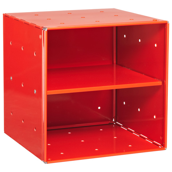 Red Enameled QBO® Steel Cube Shelf
