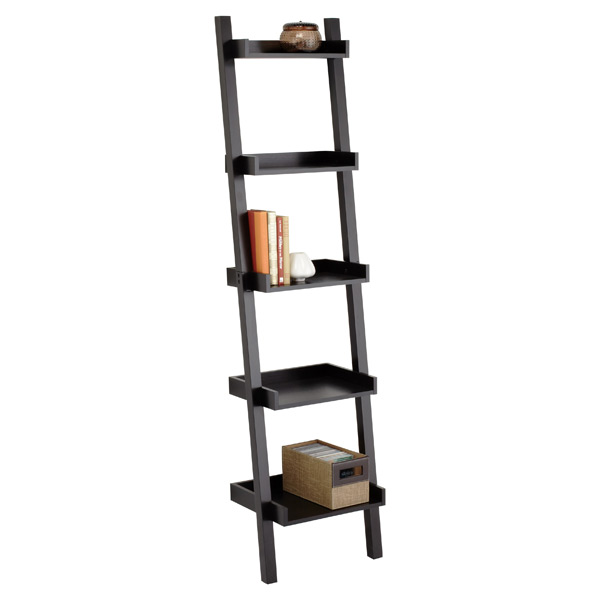 Narrow Linea Leaning Bookcase Java