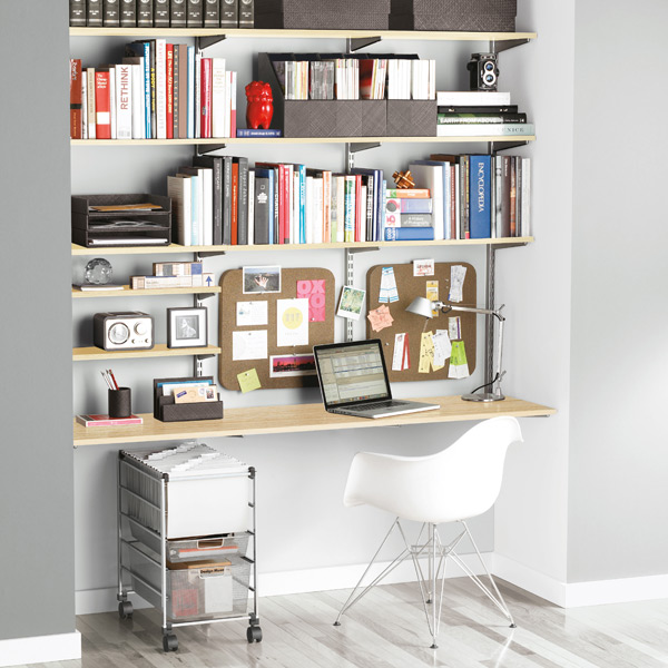 Home Office Shelves sand & platinum elfa home office shelving | the container store