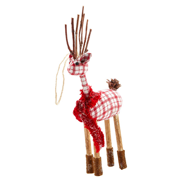 Tie-on Plaid Reindeer
