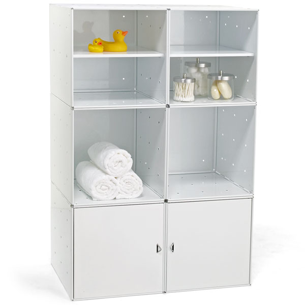 Steel Cube Bath Storage White Enamel